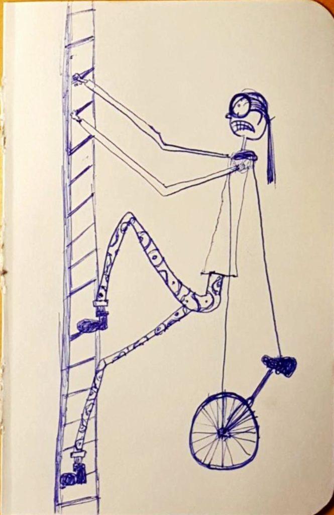 Eine mit übertrieben langen und dünnen Armen und Beinen gezeichnete Frau mit großer Brille und wütend (?) zusammengebissenen Zähnen klettert mit einem an einem Riemen über der Schulter getragenen Einrad eine Leiter hoch
