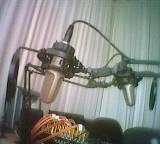 Zwei Studiomikrofone vor weißem Vorhang, verschränkt