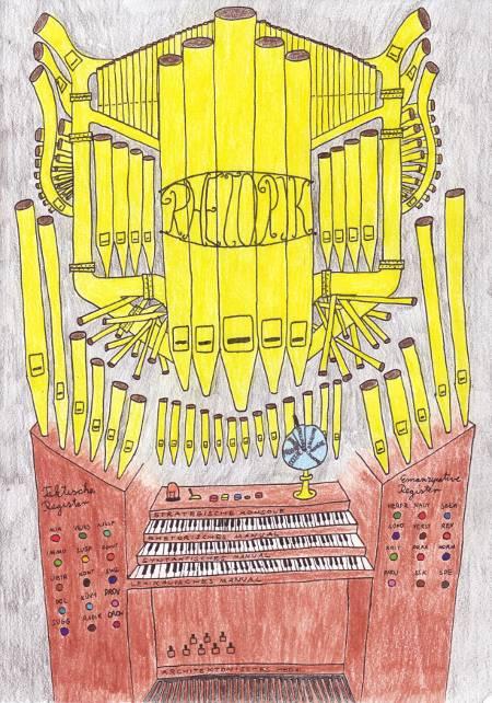 Rhetorische Orgel mit taktischen Registern, emanzipativen Registern, einer strategischen Konsole, einem rhetorischen, einem syntaktischen und einem lexikalischen Manual sowie einem architektonischen Pedal.