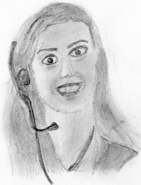 Bleistiftzeichnung einer psychotisch dreinblickenden Frau mit Headset